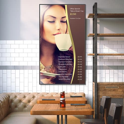 NEC digital signage showing prices in a coffee shop