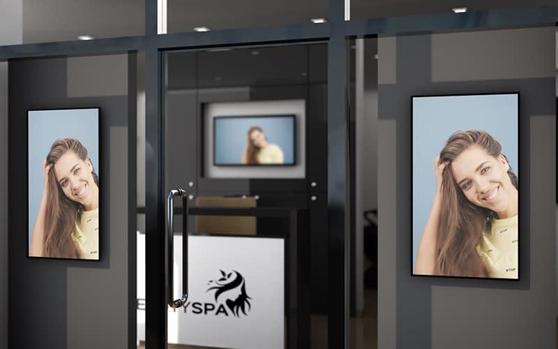 Vestel digital signage screens in the window of a hair salon