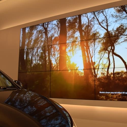 Video wall digital signage in a SEAT car showroom
