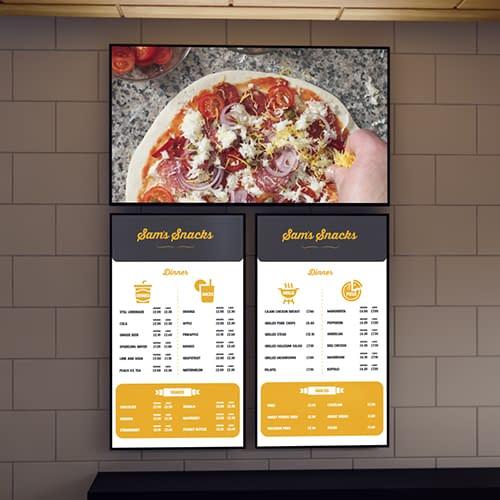 Vestel menu board digital signage in a cafe