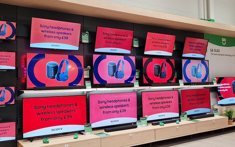 Digital signage content at an AO electrical goods retail store
