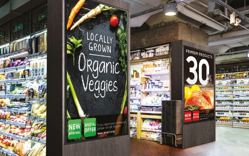 Samsung digital signage screens in a food retail store to promote products