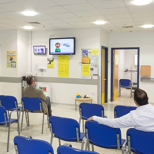 Digital signage solution in a hospital waiting room