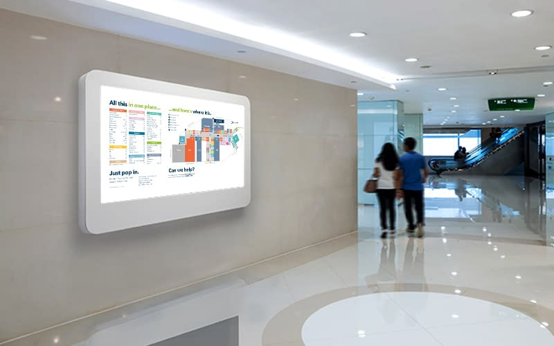 Wall-mounted wayfinding digital signage in a shopping mall