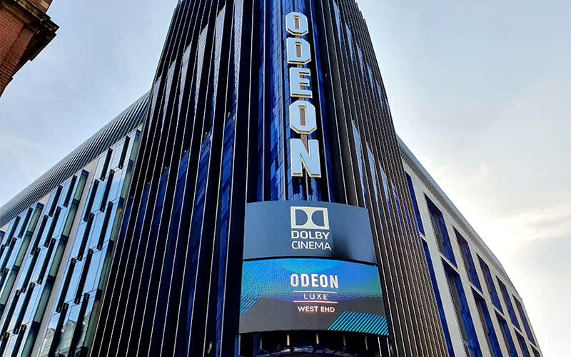 Outdoor LED Wall digital signage at the ODEON cinema in London's West End