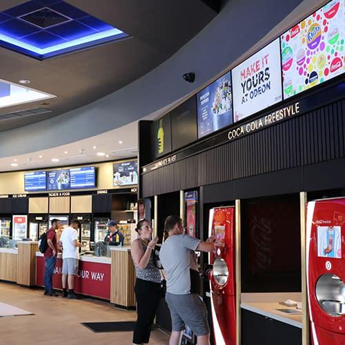 Digital signage screens and menu boards at a UK cinema