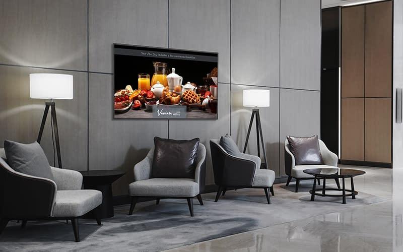 NEC digital signage screen in a hotel lobby