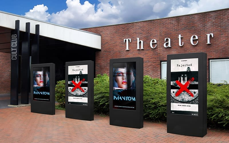 NEC digital signage screens in freestanding totems outside of a theatre
