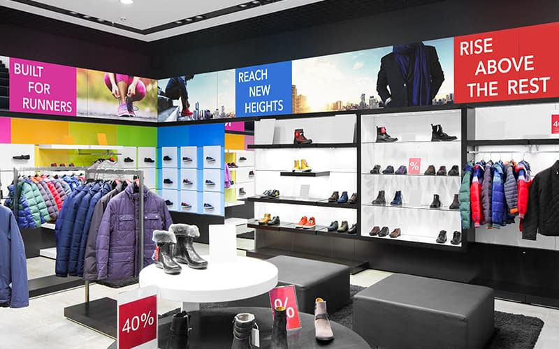 NEC digital signage in a clothing retail store