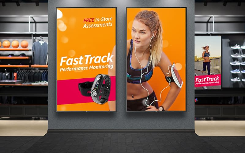 NEC digital signage to promote fitness products