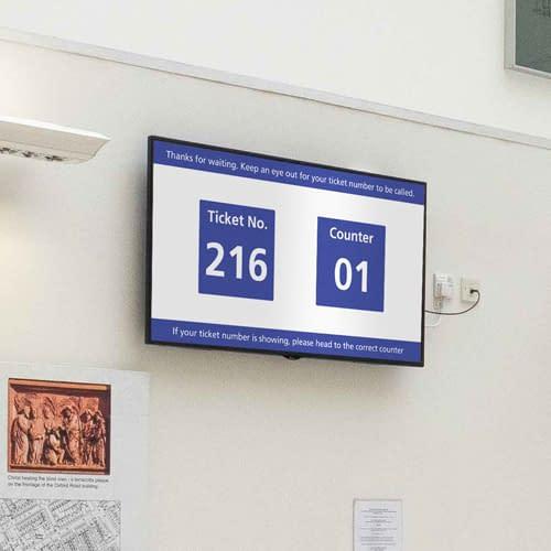 Digital signage used for queue management