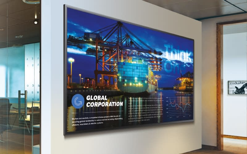 Samsung digital signage screen being used for corporate communications