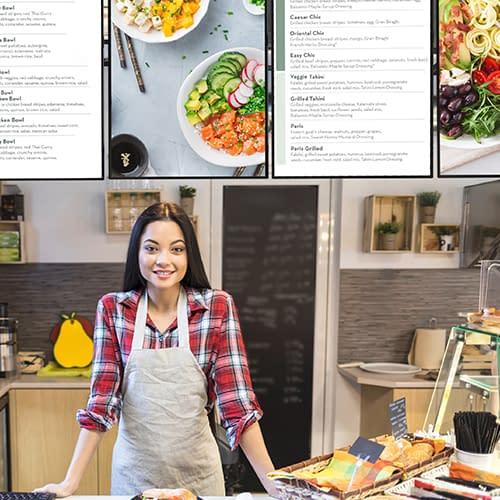 Digital menu boards in a food retail business