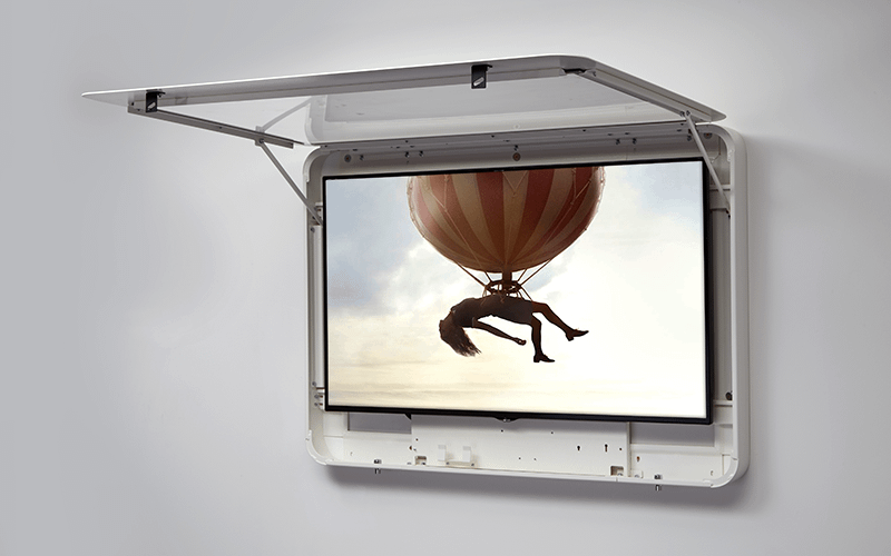 Open wall-mounted digital signage enclosure protecting an LCD screen