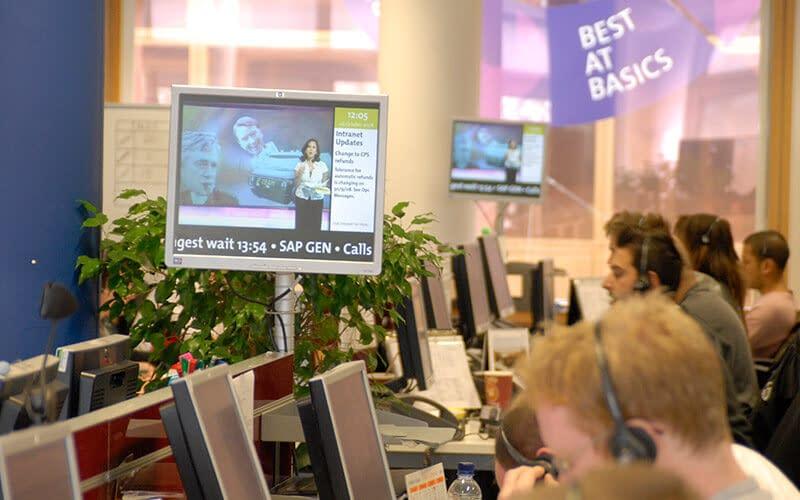 Call centre using digital signage for internal communication